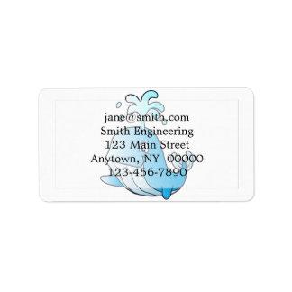 whale cartoon label