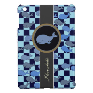 whale ~ checkered pattern of whales iPad mini cover