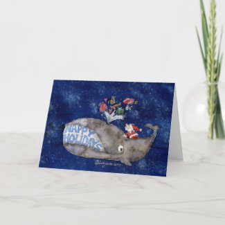 Whale Christmas Happy Holidays Card card