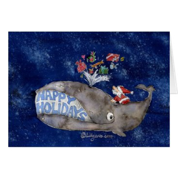 Christmas Themed Whale Christmas Happy Holidays Card