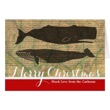 Beach Themed whale christmas holiday card template custom