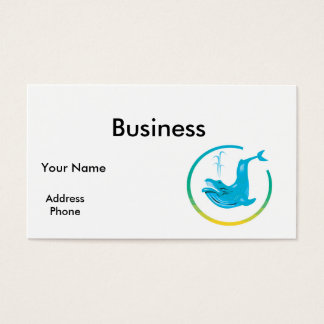 whale circle design business card