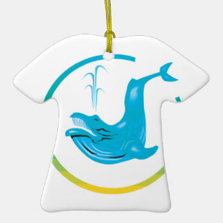 whale circle design Double-Sided T-Shirt ceramic christmas ornament