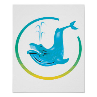 whale circle design poster