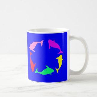 Whale Circle on Ocean Blue Background Coffee Mug