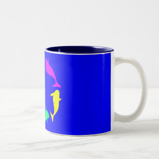 Whale Circle on Ocean Blue Background Coffee Mugs