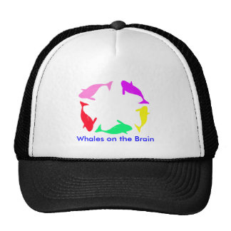 Whale Circle on Ocean Blue Background Mesh Hats