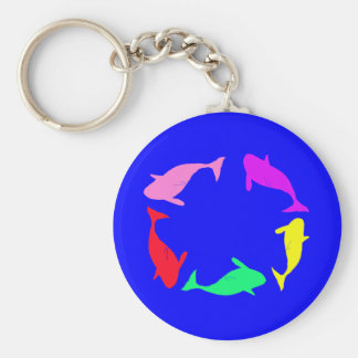Whale Circle on Ocean Blue Background Key Chain