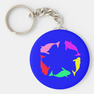 Whale Circle on Ocean Blue Background Keychain