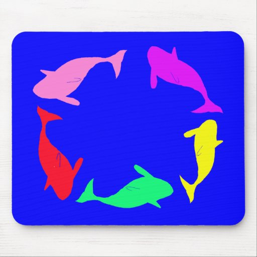 Whale Circle on Ocean Blue Background Mouse Pad