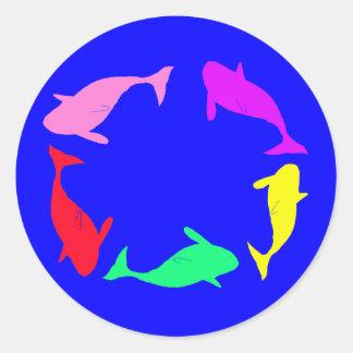 Whale Circle on Ocean Blue Background Round Sticker