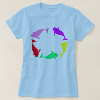 Whale Circle on Ocean Blue Background T Shirt