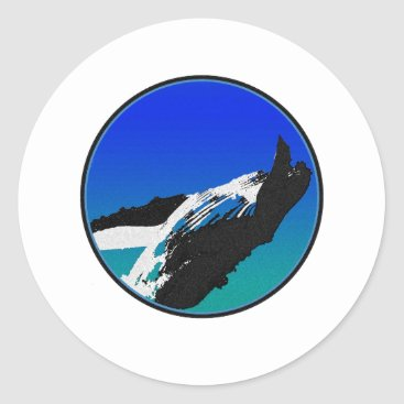 Beach Themed Whale Classic Round Sticker