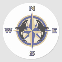 Whale Compass Rose Classic Round Sticker