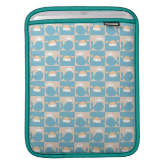 Whale Crab Checkered Pattern iPad Sleeves