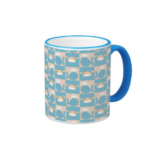 Whale Crab Checkered Pattern Coffee Mugs