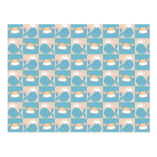Whale Crab Checkered Pattern Post Card