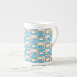 Whale Crab Checkered Pattern Bone China Mug