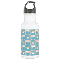 Whale Crab Checkered Pattern Stainless Steel Water Bottle