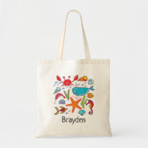 Whale Crab Fish Seahorse Ocean Personalized Kid Tote Bag