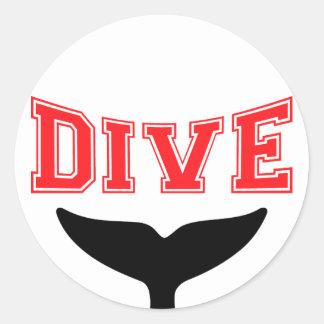 Whale Design SCUBA Dive Classic Round Sticker