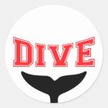 Whale Design SCUBA Dive Round Stickers