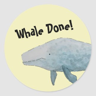 Whale Done Pun Blue Whale Classic Round Sticker