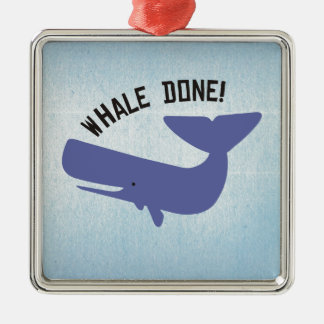 Whale Done Square Metal Christmas Ornament