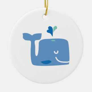 Whale Double-Sided Ceramic Round Christmas Ornament