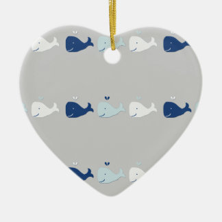Whale Double-Sided Heart Ceramic Christmas Ornament