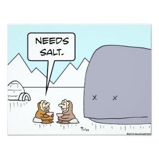 "whale eskimo needs salt 4.25"" x 5.5"" invitation card"