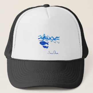 Whale family trucker hat