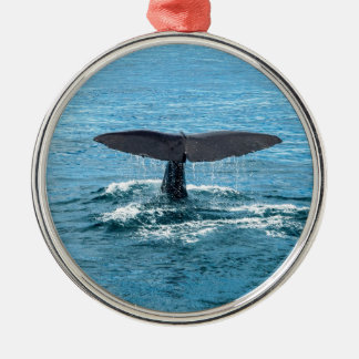 Whale fin metal ornament