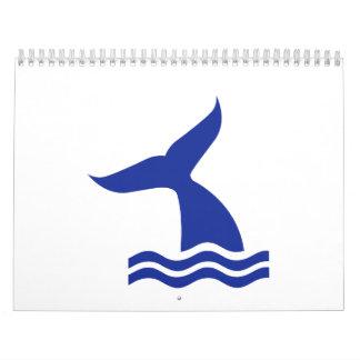Whale fin waves wall calendars