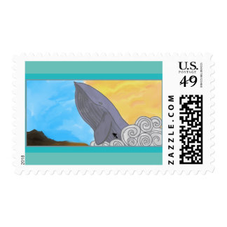 Whale, Fish, and the Elements Postage Stamp