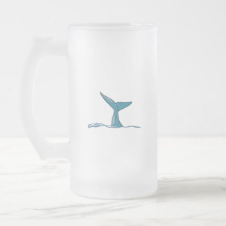 Whale fish fin frosted glass beer mug