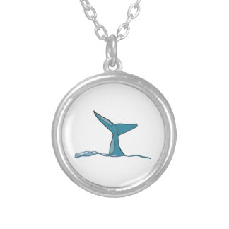 Whale fish fin silver plated necklace