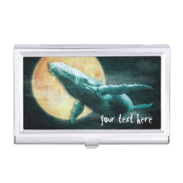 Professional Business Whale Flying to The Moon Business Card Holder