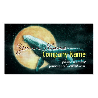 Whale Flying to The Moon Business Cards template