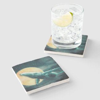Whale Flying to The Moon Marble Stone Coaster