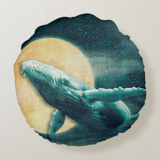 Whale Flying to The Moon Round Throw Pillow