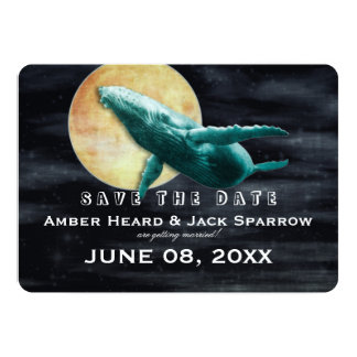 Whale Flying to The Moon Wedding Save the Date Card