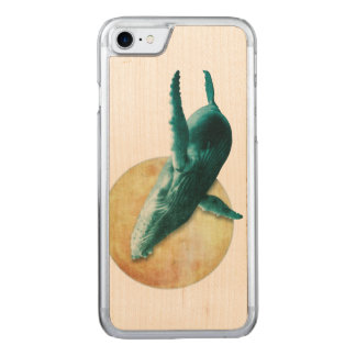 Whale Flying to The Moon Wood Carved iPhone 8/7 Case