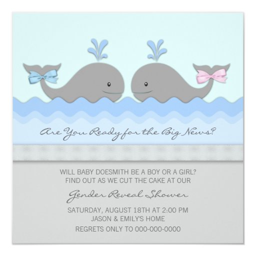 Whale Gender Reveal Baby Shower 5.25x5.25 Square Paper Invitation Card