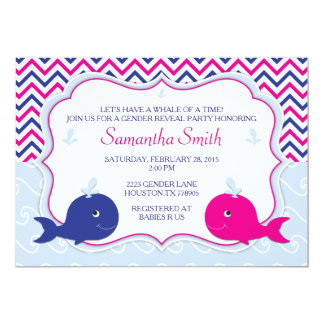 Whale Gender Reveal Baby Shower Invitation