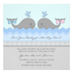 Whale Gender Reveal Baby Shower Invite