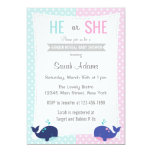 """Whale Gender Reveal Party Invitation Blue Pink 5"""" X 7"""" Invitation Card"""