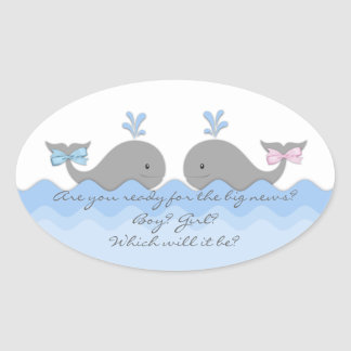 Whale Gender Reveal Stickers