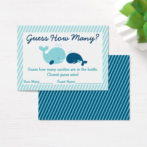 Whale Guess How Many Baby Shower Game Business Card