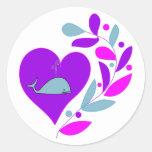 Whale Heart Round Sticker